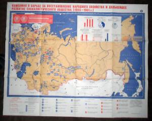 6321-SOVIET-UNION LARGE-POSTER-PARTY/Industrial-Socialist progress 1949-61 c1984