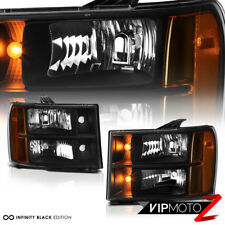 [BLACK] For 07-13 GMC Sierra 1500 2500 3500 HD Front Headlight Replacement Lamp