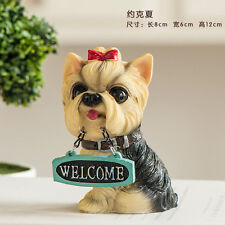 YORKSHIRE Yorkie TERRIER  puppy dog sat resin figure figurine welcome  Us un10