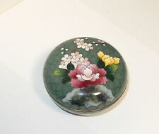 GREEN INABA FLORAL BLOSSOMS DESIGN CLOISONNE ENAMEL BOX SIGNED