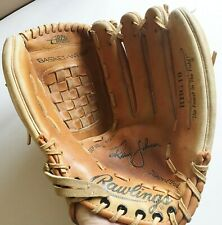 "Rawlings Randy Johnson RHT 13"" Leather Baseball Glove RBG10 Arched Basket Web"