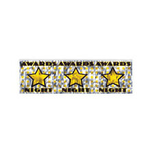 Awards Night Metallic Party Banner - 4 ft, silver with stars - Lot of 2 - NEW