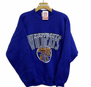 Vintage 90s Kentucky Wildcats Graphic Print Crewneck Sweatshirt Blue Large NEW