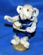 Vtg Chenille Miniature Xmas Putz Figure On Wood Base, Elephant Drummer