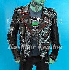 New Men's Punk Black Full Silver Spiked Studded Brando Cow Biker Leather Jacket