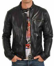 New Men's Leather Jacket Genuine Lambskin Leather Motor fit Biker M Coat MJ0424
