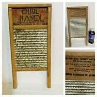 Vtg Primitive Dubl Handi Small Washboard Double Side Wood & Tin Farmhouse 18""