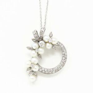 NYJEWEL 14k White Gold 2ct Diamond Pearl Brooch Pendant Necklace