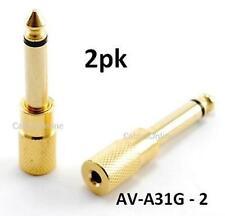 "2pk Gold 3.5mm Mono Jack to 1/4"" Mono Plug Adapter"