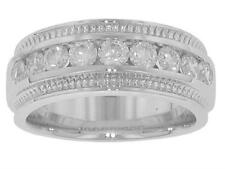 1.00 Ct Men's Channel Set Round Diamond Wedding Band in Hand Carved In Platinum