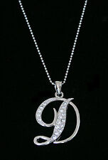 """D"" LETTER INITIAL ALPHABET PENDANT CHARM NECKLACE CLEAR CRYSTALS LARGE SILVER T"