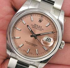 Rolex DATEJUST 116200 Mens Steel Oyster Pink Index Dial Domed Bezel 36MM
