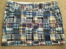 AMERICAN EAGLE OUTFITTERS Blue Patchwork Plaid Flirty Casual Mini Skirt womens 0