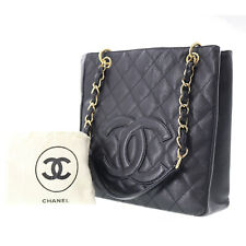 CHANEL Quilted Matelasse Chain Hand Bag Black Caviar Leather Vintage Auth #BB517