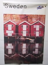 Vintage Sweden Travel Poster Boat House Boats Huge 25x39 Tourist Advertising