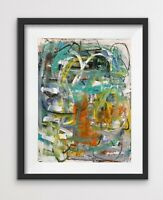 Bold Colorful Gestural Contemporary Small Original Abstract Painting Lemonade