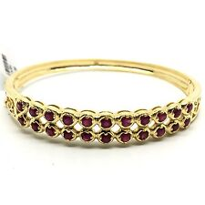 14K Yellow Gold Double Rows Rubies Bangle