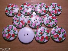 20 Buttons 30 mm Rose Colourful Wood 2 Holes 2,5 Sewing Craft #