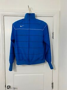 Vintage Nike Mens Bomber Jacket Windbreaker Blue Elastic Cuffs Waist UK Small