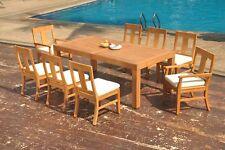 "9pc Grade-A Teak Dining Set 86"" Canberra Rectangle Table 8 Osborne Chair Outdoor"