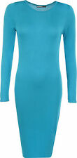 New Ladies Womens Plain Long Sleeve Stretch Jersy Bodycon Midi Maxi Dress Tunic
