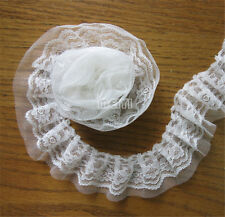 1 yard Vintage White Pleated Organza Lace Edge Trim Gathered Mesh Ribbon Sewing