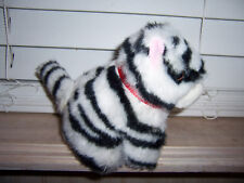 A Fiesta Toy Plush White Black Striped Tiger Cat