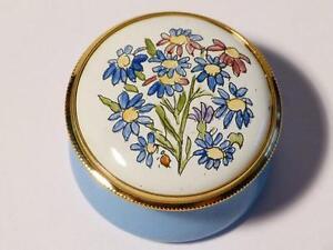 ASTER - SEPTEMBER Month Flower Staffordshire Enamels Trinket Box Boxed #13
