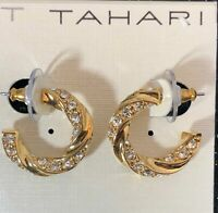 Tahari Rhinestone Gold Earrings ~ Retails $32
