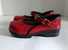 Sanita Marcelle Mary Jane Red Black Patent Leather Professional Clogs Euro 32