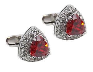 Triangle Cufflinks with ruby red swarovski crystal mens gift by CUFFLINKS DIRECT
