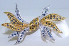GENUINE! 1.09cts African Sapphire Bow Two-tone Brooch in Solid S/Silver 925.