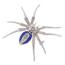 Spider Pin Brooch Halloween Costume Jewelry Rhinestone Crystal Blue Silver Tone