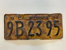 1934 California License Plate Vintage Antique Cool Collectible Gas Oil Barn Find