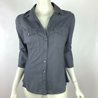 James Perse Button-Up Shirt 3/4 Sleeve Top Stretch Cotton Collared Women 2 Mediu