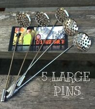 ✿ 5 SILVER COAT HAT LAPEL HIJAB PIN STICK BROOCH PERFORATED SIEVE CABOCHON DISK