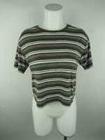 Garage Women sz S Green Cotton Modal Striped Crew Neck Short Sleeve T-Shirt Top