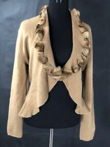 Maria Di Ripabianca Women's Size 14 Tan Fur Trimmed  Cardigan Ruffled Front
