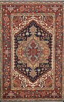4x6 Traditional Geometric Indo Heriz Oriental Area Rug Hand-knotted Wool Carpet