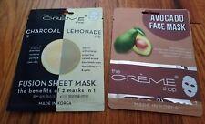 LOT The Creme Shop Charcoal Lemonade Fusion Sheet Mask & Avocado Face Sheet Mask