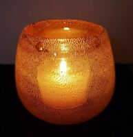Hand Blown Gold Speck Art Glass Candle Holder or Small  Bowl
