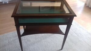 Antique Edwardian Mahogany & Glass Display Table Cabinet