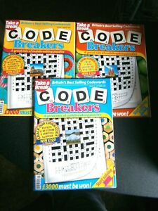 3 Take A Break Code Breakers Puzzle Books , August, September, October 2021 New
