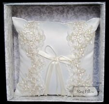 White / Off-White Wedding Ring Bearer Pillow - Embroidery, Pearls, Lace, Sequins