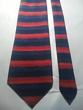 Hardy Amies Men's Vintage Tie in an Embossed Navy Blue Red and Orange Stripe