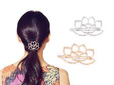 Lotus Flower Blossom Hair Clip Metal Barrette Womens Girls Fashion Accessory