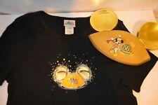 Disneyland 50th Anniversary Womens Shirt 2XL  Black with Gold Ears Set