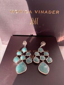 Monica Vinader Siren Chandelier Earrings Amazonite Sterling Silver Drop Studs