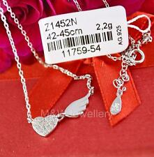 SOLID 925 STERLING SILVER RHODIUM PLATED NECKLACE HEART WITH ZIRCONIA & WING