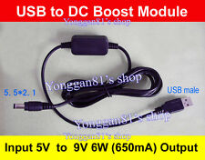 DC-DC Converter Kable USB 5V to 9V 6W DC Jack 5.5mmx2.1mm Step-up Power Module